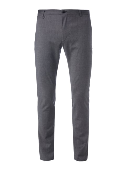 Extra Slim Fit Chino mit Webstruktur Grau / Schwarz - 1