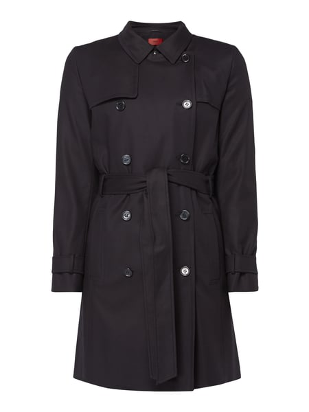 Hugo Makaras - Regular Fit Trenchcoat mit Stretch-Anteil Schwarz