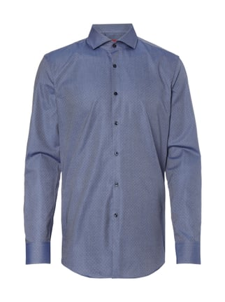 Slim Fit Business-Hemd mit Tupfenmuster Blau / Türkis - 1