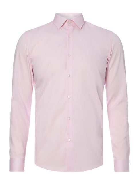Slim Fit Business-Hemd mit Webmuster Rosé - 1