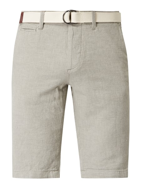 Jack & Jones Regular Fit Bermudas aus Leinen-Baumwoll-Mix Grün - 1