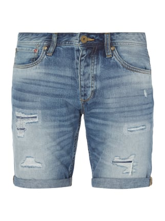 Regular Fit Jeansbermudas im Destroyed Look Blau / Türkis - 1