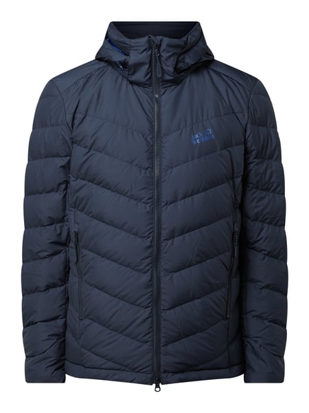 Jack Wolfskin – Fair Wear Foundation Daunenjacke mit Kapuze – Marineblau