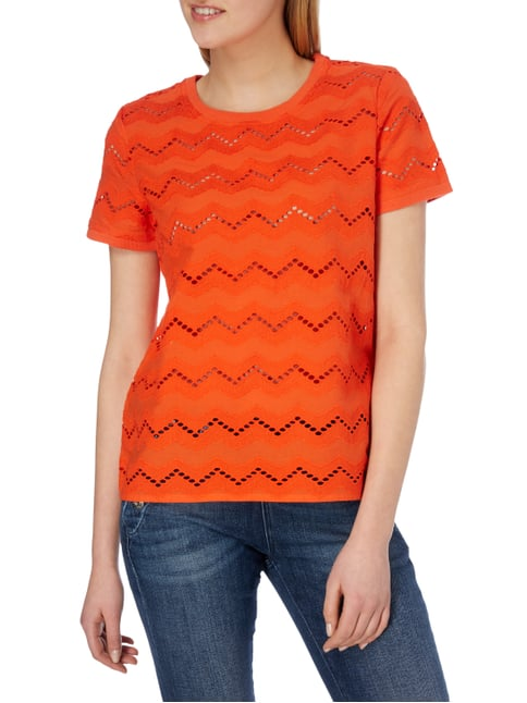 Jake*s Blusenshirt mit Zickzack-Stickereien Orange - 1