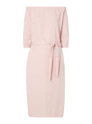 Off Shoulder Kleid mit Taillengürtel Rosé - 1