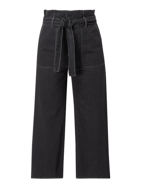 Jake*s Casual Paperbag-Hose aus Denim Schwarz - 1