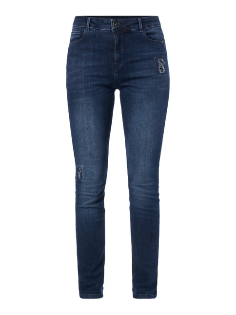Slim Fit High Waist Jeans im Used Look Blau / Türkis - 1