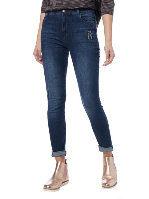 Jake*s Slim Fit High Waist Jeans im Used Look Dunkelblau meliert - 1