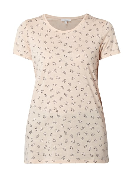 Jake*s T-Shirt mit Allover-Muster Hellrosa