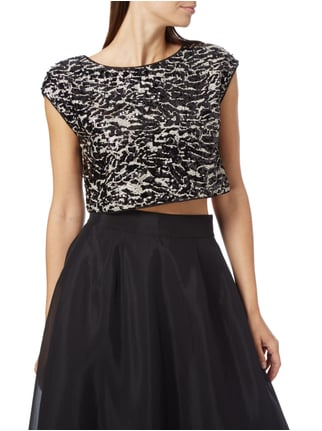 Jake*s Cocktail Crop-Shirt mit Pailletten-Besatz Graphit meliert - 1