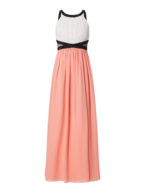Two-Tone-Abendkleid aus Chiffon Orange - 1