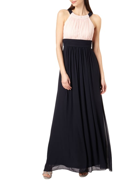 Jake*s Cocktail Two-Tone-Abendkleid aus Chiffon mit Raffungen in Blau / Türkis - 1