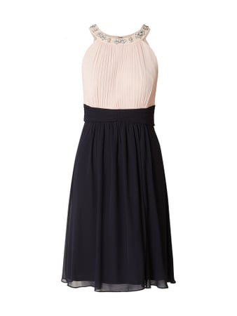 Jake*s Cocktail Two-Tone-Cocktailkleid mit Blüten-Applikationen Blau / Türkis - 1