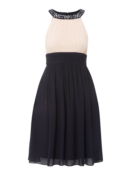 JAKES-COCKTAIL Two-Tone-Cocktailkleid mit Ziersteinbesatz in Blau ...