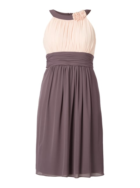 Two-Tone-Kleid mit Collierkragen Braun - 1