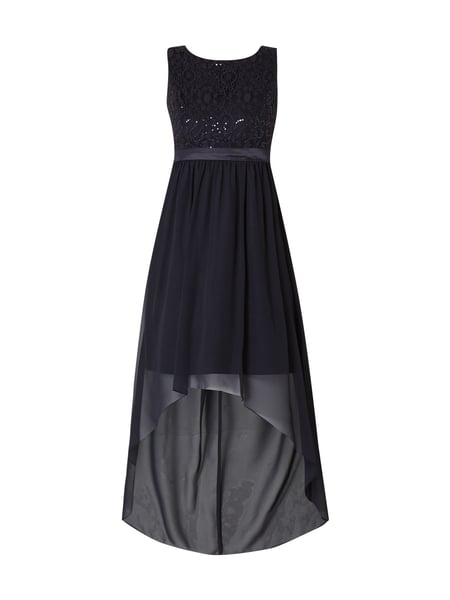 Jake*s Cocktail Vokuhila Cocktailkleid mit Pailletten-Besatz Marineblau meliert