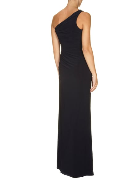 Unique one shoulder abendkleid mit perlenbesatz dunkelblau