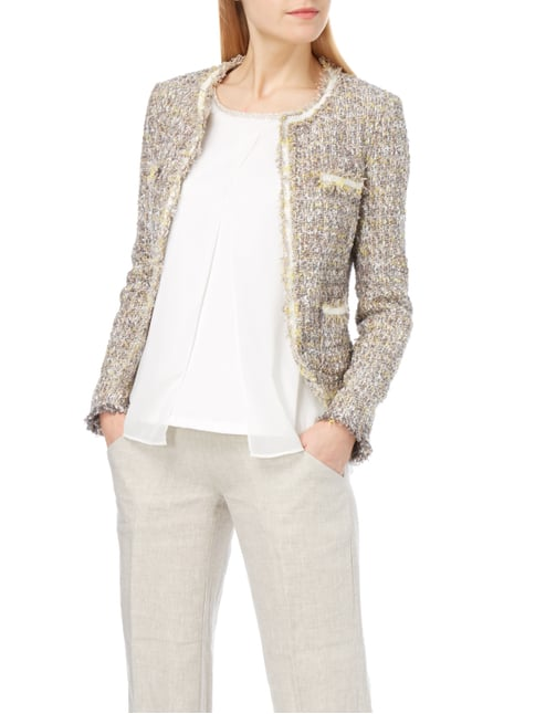 Jake*s Collection Blazer aus Bouclé mit Fransendetails Sand - 1