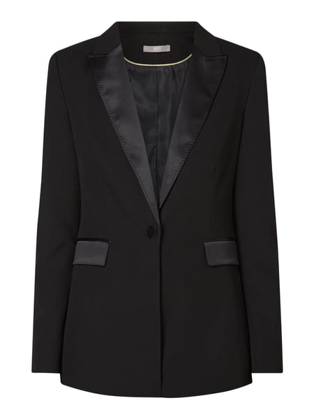 Jake*s Collection Blazer mit Satinbesatz Schwarz - 1