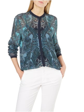 Jake*s Collection Bluse mit ornamentalem Muster Bleu - 1