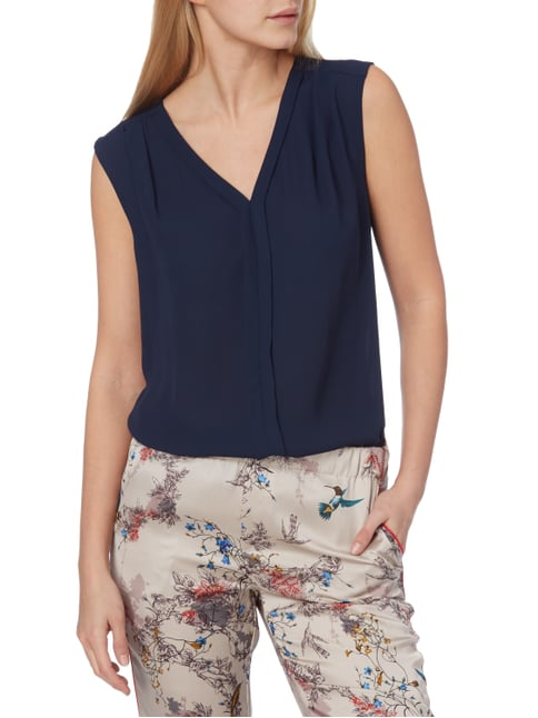 Jake*s Collection Blusentop aus Chiffon Marineblau - 1