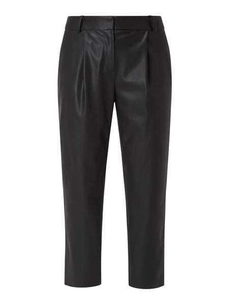 Jake*s Collection Bundfaltenhose in Leder-Optik Schwarz - 1