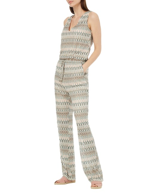 Jake*s Collection Jumpsuit mit Allover-Muster in Weiß - 1