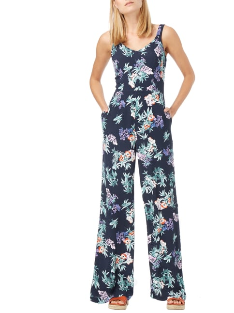 Jake*s Collection Jumpsuit mit floralem Muster in Blau / Türkis - 1