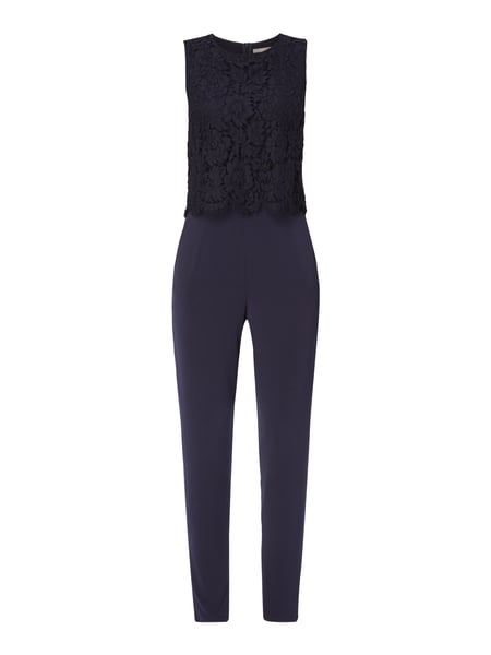 Jake*s Collection Jumpsuit mit Oberteil aus floraler Spitze Marineblau