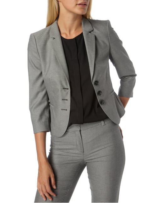 Jake*s Collection Kurzblazer mit Webmuster Hellgrau - 1
