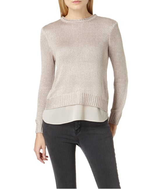 Jake*s Collection Pullover mit Effektgarn Taupe - 1