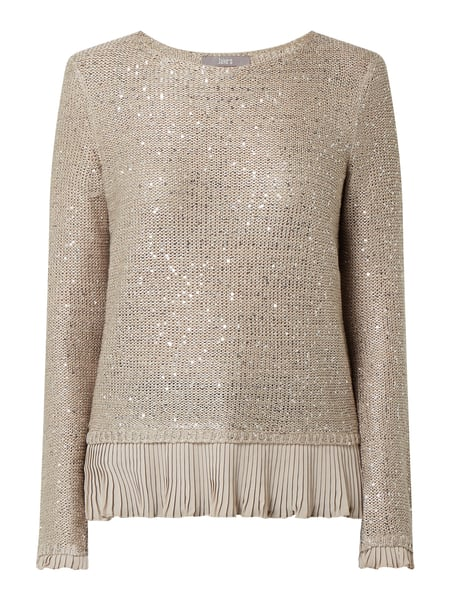 Jake*s Collection Pullover mit Pailletten Beige - 1