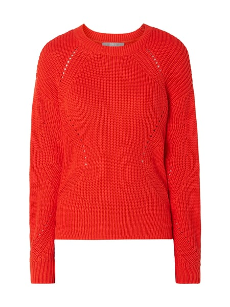 Jake*s Collection Pullover mit perforiertem Muster Orange - 1