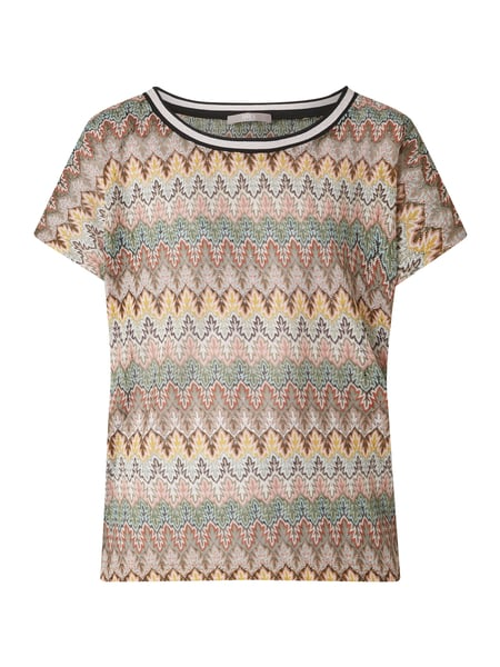 Jake*s Collection Strickshirt mit Ajourmuster und Effektgarn Beige - 1