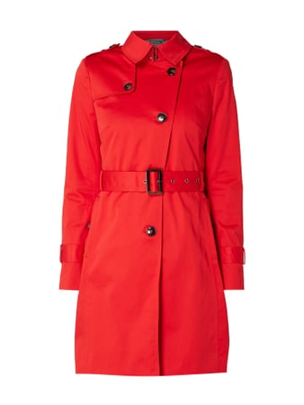 Jake*s Collection Trenchcoat mit Taillengürtel Rot - 1