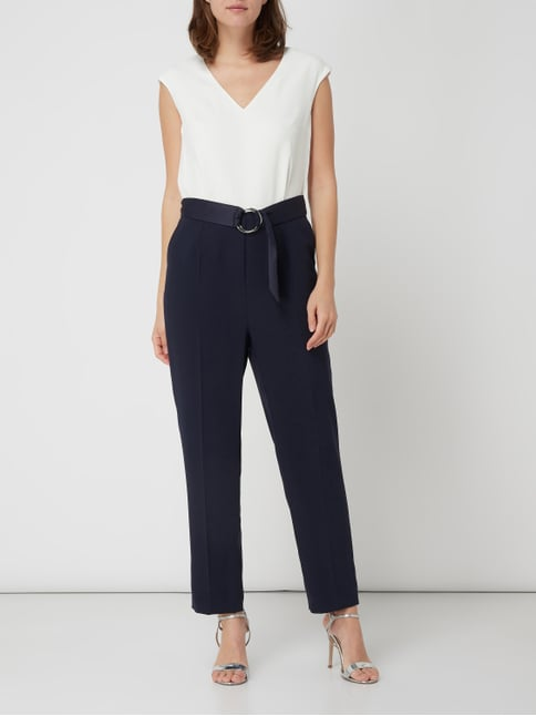 7a1bf945e7ae7f ... Jake*s Collection Two-Tone-Jumpsuit mit Taillengürtel in Blau - 1