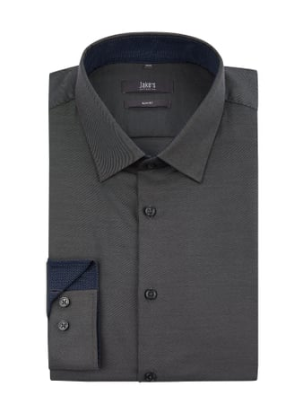Jake*s Jake*s Slim Fit Business-Hemd aus Twill Stretch Grau / Schwarz - 1