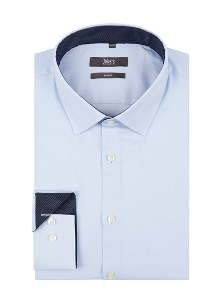Jake*s Jake*s Slim Fit Business-Hemd aus Twill Stretch Blau / Türkis - 1