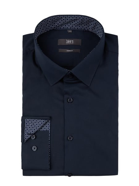 Jake*s Modern Fit Business-Hemd mit Kontrastausputz Blau / Türkis - 1