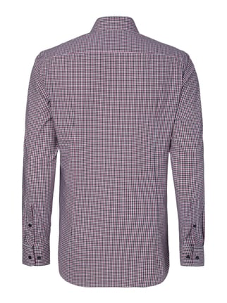 Jake*s Modern Fit Hemd mit Vichy Karo Purple - 1