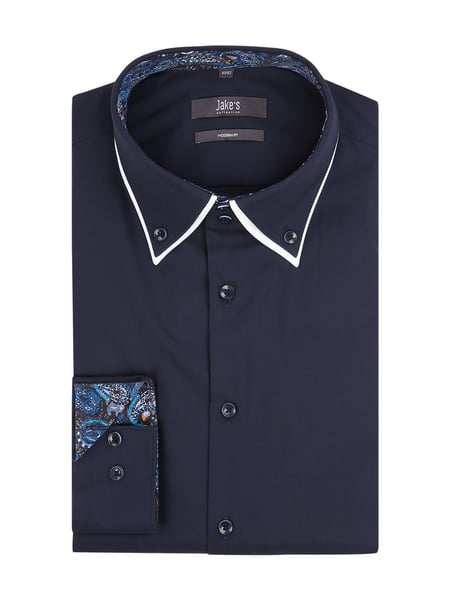 Jake*s Modern Fit Business-Hemd mit Button-Down-Kragen Blau / Türkis - 1