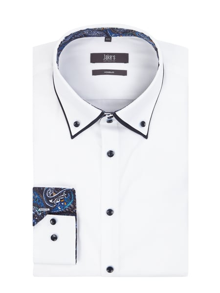 Jake*s Modern Fit Business-Hemd mit Button-Down-Kragen Weiß - 1