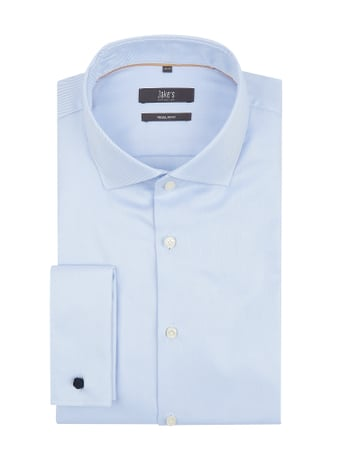 Jake*s Regular Fit Business-Hemd aus Twill Blau - 1