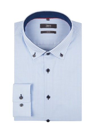 Jake*s Slim Fit Business-Hemd mit Vichy Karo Blau / Türkis - 1