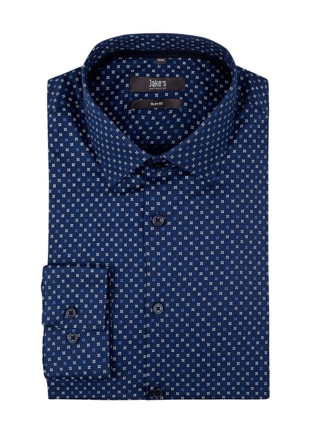 Jake*s Slim Fit Business-Hemd aus Baumwolle Blau - 1