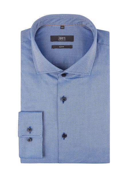 Jake*s Slim Fit Business-Hemd mit Haifischkragen Blau / Türkis - 1