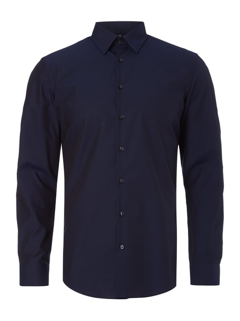 Slim Fit Business-Hemd aus Chambray Blau / Türkis - 1