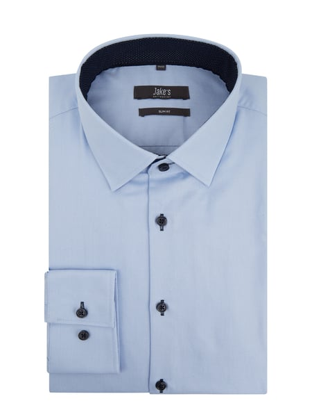 Jake*s Slim Fit Business-Hemd aus Natté Blau - 1