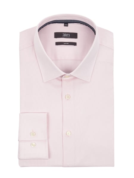 Jake*s Slim Fit Business-Hemd aus Natté Rosé - 1