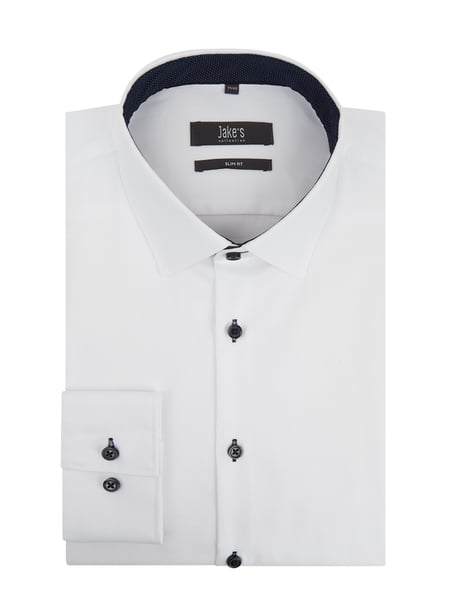 Jake*s Slim Fit Business-Hemd aus Natté Weiß - 1